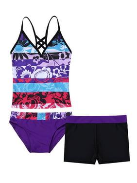 Kids Big Girl 3pcs Tankini Swimsuit with Swim Bottoms and Board Shorts