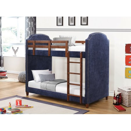 Coaster Bunk Bed Twin Over Twin Upholstered Navy Blue Fabric