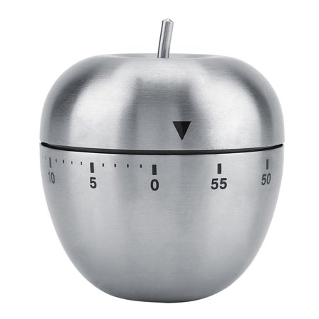 Ashata Stainless Steel Apple-shaped Mechanical Alarm Timer 60-Minute Countdown Kitchen Cooking Tool,Mechanical Timer, Mechanical Kitchen Timer