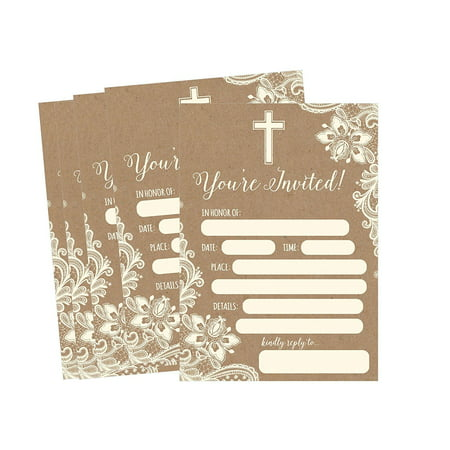 50 Kraft Religious Invitations, Confirmation, Holy Communion, Baptism, Christening, Baby Dedication or Blessing, Reconciliation, 1st First Communion Invites, Easter Party Invitation Cards (First Holy Communion Invitations)