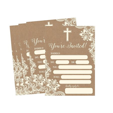 50 Kraft Religious Invitations, Confirmation, Holy Communion, Baptism, Christening, Baby Dedication or Blessing, Reconciliation, 1st First Communion Invites, Easter Party Invitation Cards