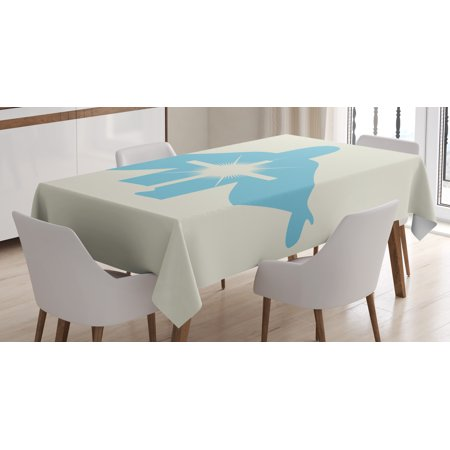 Blue Tablecloth, Silhouette of Messiah and Cross Icon Prayer the Lord Holy Spirit Theme, Rectangular Table Cover for Dining Room Kitchen, 52 X 70 Inches, Pale Blue Coconut White, by Ambesonne