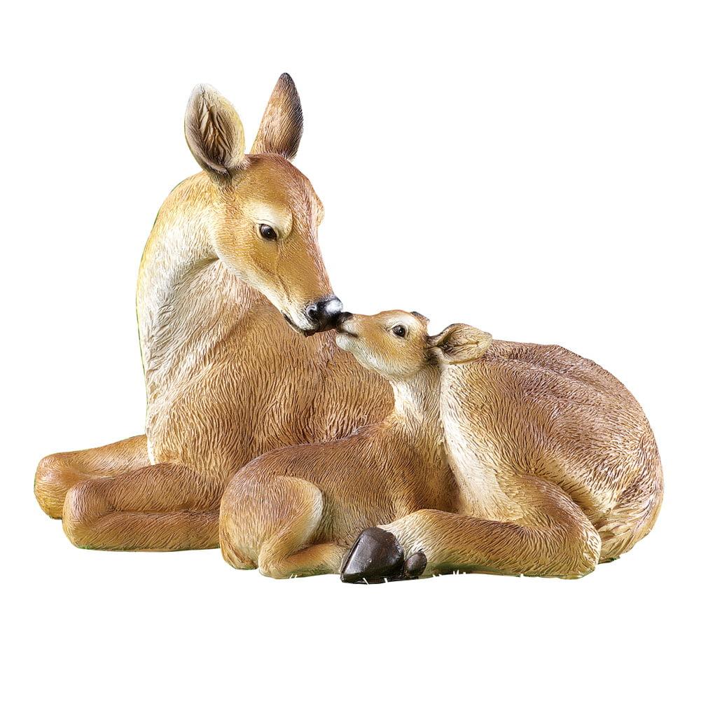 Protective Mother Deer Statue Baby Fawn Sculpture Doe Garden Decor NEW