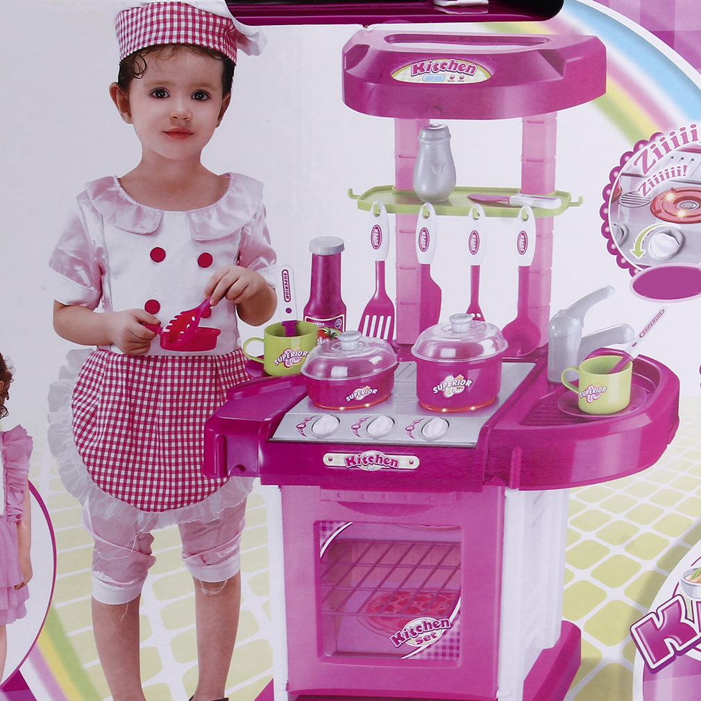 2017 New Kids Play Toy Girl Baby Toy Kitchen Cooking Simulation Table Utensils Toys, Pink by