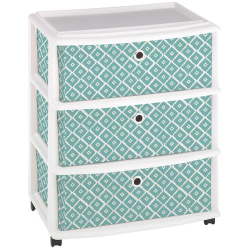 Homz Expressions Wide Cart with 3 Mint Blue Fabric Drawers