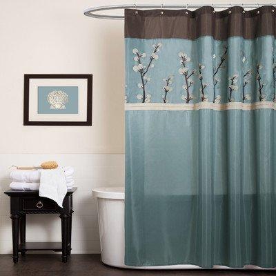 Triangle Home Fashions 19259 Lush Decor Cocoa Flower Shower Curtain 72 X Inches