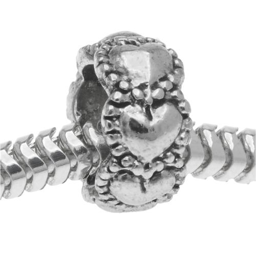 Silver Tone Beaded Hearts European Style Large Hole Spacer Bead (1)
