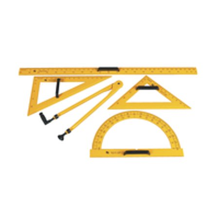 School Smart Drafting Tools Kit, Yellow, Set of 5