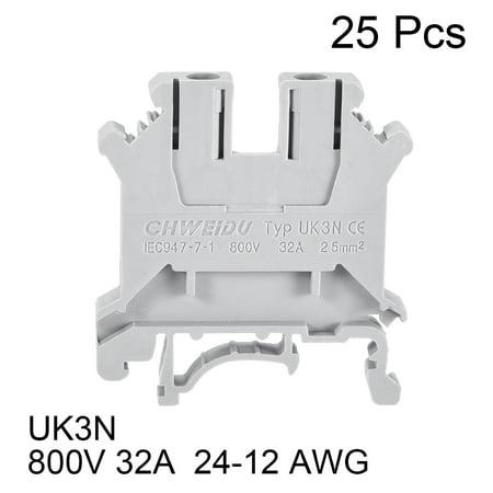 UK3N DIN Rail Terminal Block 800V 32A Gray for 24-12 AWG , 25 Pcs - image 2 of 4