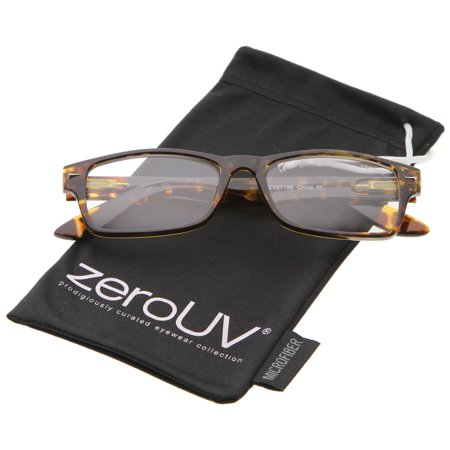 zeroUV - Casual Horn Rimmed Clear Lens Rectangular Glasses 51mm (Tortoise / Clear) - 51mm Great for everyday wear, these rectangle eyeglasses are designed with a horn rimmed frame and clear lenses. Accented with stylishly wide temples and spring loaded hinges for a comfortable fit, these casual glasses can be worn from season to season. Made with a plastic based frame, spring loaded metal hinges, and polycarbonate UV400 clear lenses.