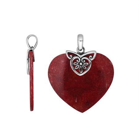 Coral Heart (AP-6235-CR Sterling Silver Heart Shape Pendant With)
