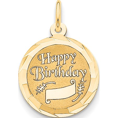 14k Yellow Gold Happy Birthday (16x23mm) Pendant / Charm - image 2 of 2