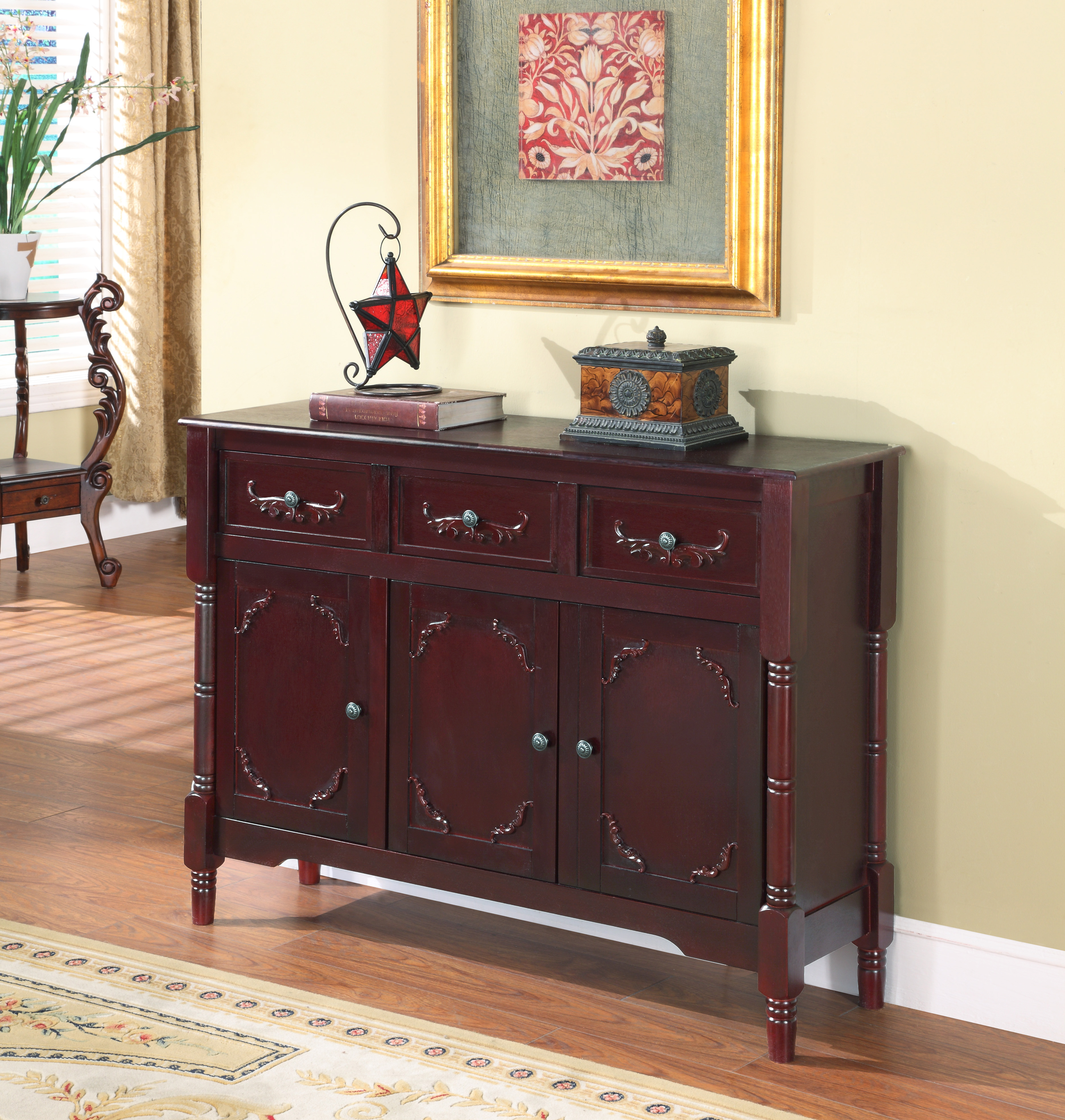 Black Wood Contemporary Sideboard Buffet Display Console Table With Storage  Drawers U0026 Doors