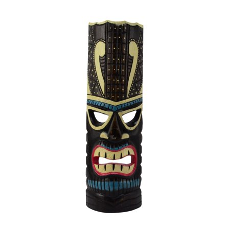 Turquoise Tiki Head Face Wood Totem Statue Tropical Bar Patio Luau 3D Wall Decor