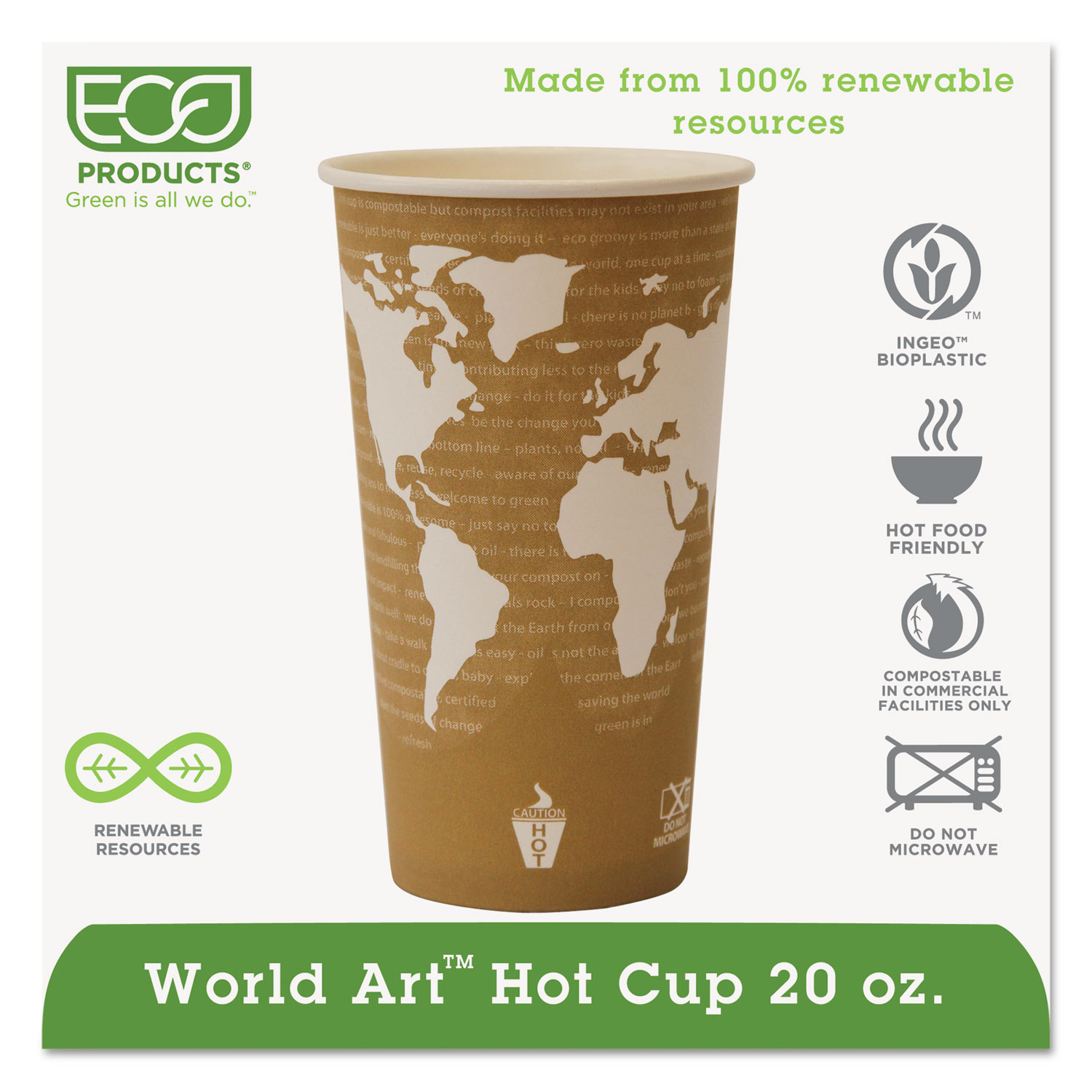 Eco-Products EP-BHC20-WA World Art Renewable Compostable Hot Cups, 20 Oz., 50/pk, 20 Pk/ct