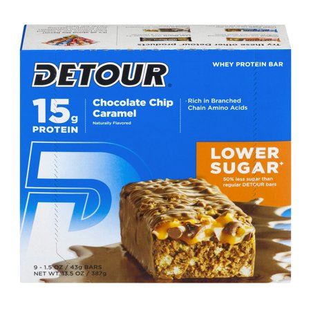 Detour Whey Protein Bar, Chocolate Chip Caramel, 15g Protein, 9 Ct
