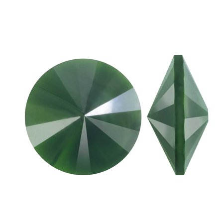 Czech Leaf Light - Czech Glass Rivoli, Faceted Round Stone 14mm, 2 Pieces, Leaf Green Pearl