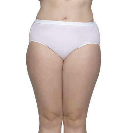Fit for Me by Fruit of the Loom Women's Plus Cotton White Brief Panties - 5 Pack