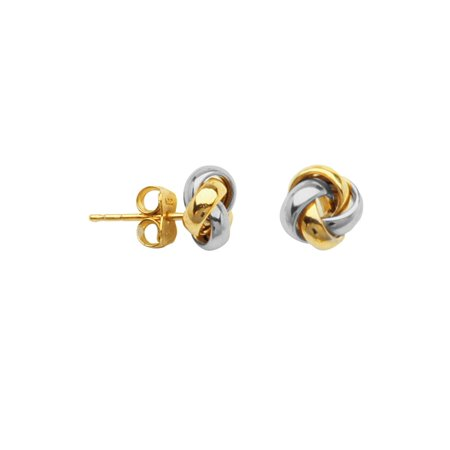 10k White and Yellow Two-tone Gold Love Knot Earrings 6mm