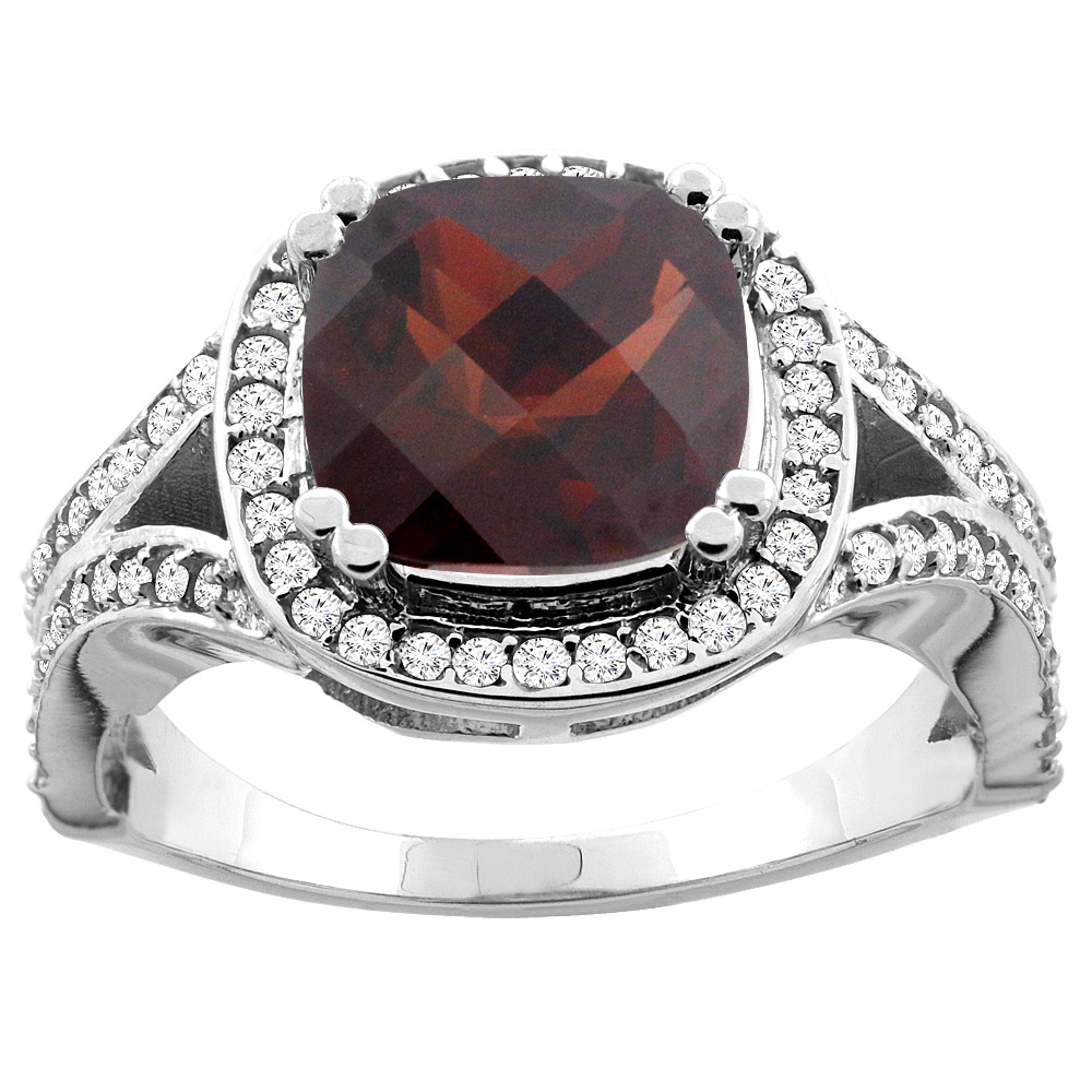 10K Yellow Gold Natural Garnet Split Ring Cushion 8x8mm Diamond Accent, size 5