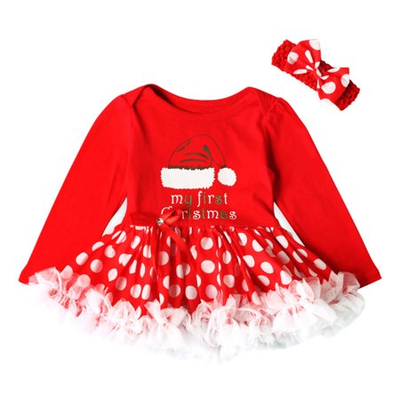 Princess Dress Outfit - Mosunx Toddler Newborn Baby Girls Princess Letter Dot Tutu Dress Christmas Outfits Set