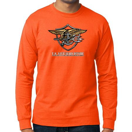 US Navy Seals DEVGRU Long Sleeve T-shirt - Neon Orange, 2XL