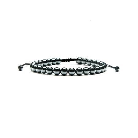 Enamel Silver Vintage Bracelets - Hematite Stone Beaded Adjustable Bracelet (6mm)