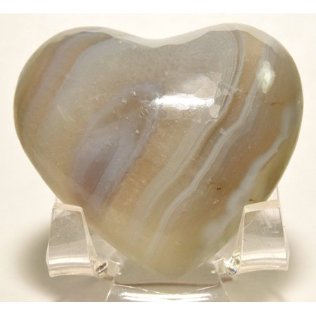 """2"""" White Agate Heart Natural Banded Polished Crystal Mineral Stone - India + Acrylic Display Stand"""