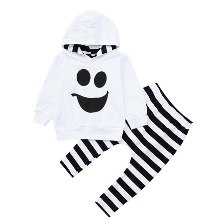 Mosunx Toddler Baby Boys Girls Hooded Tops Pullover Striped Pants Halloween Outfits Set