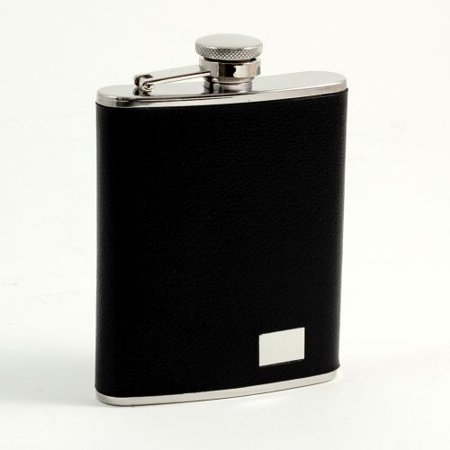 Bey Berk 6 Oz. Buffalo Leather Flask With Engraving (Bey Berk Flask)