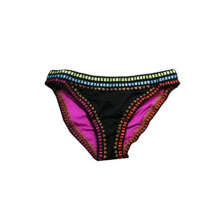 Black Hipster Bottom (Bar Iii Black Magenta Weave It Hipster Bikini Bottom)