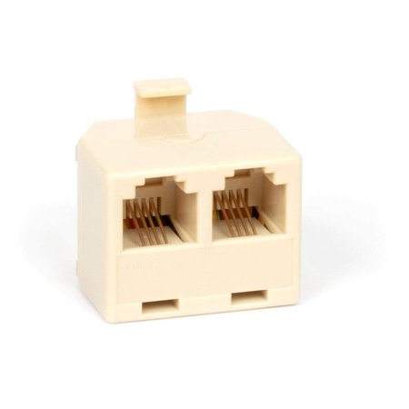 THE CIMPLE CO - Duplex Jack Phone Wall Adapter | 2-Way Phone Splitter (Line 1&2, Line 1&2) | Wall Jack Phone RJ11 Adapter | 4 Conductor Connector (2 Phone Lines) – Ivory, 1 Pack