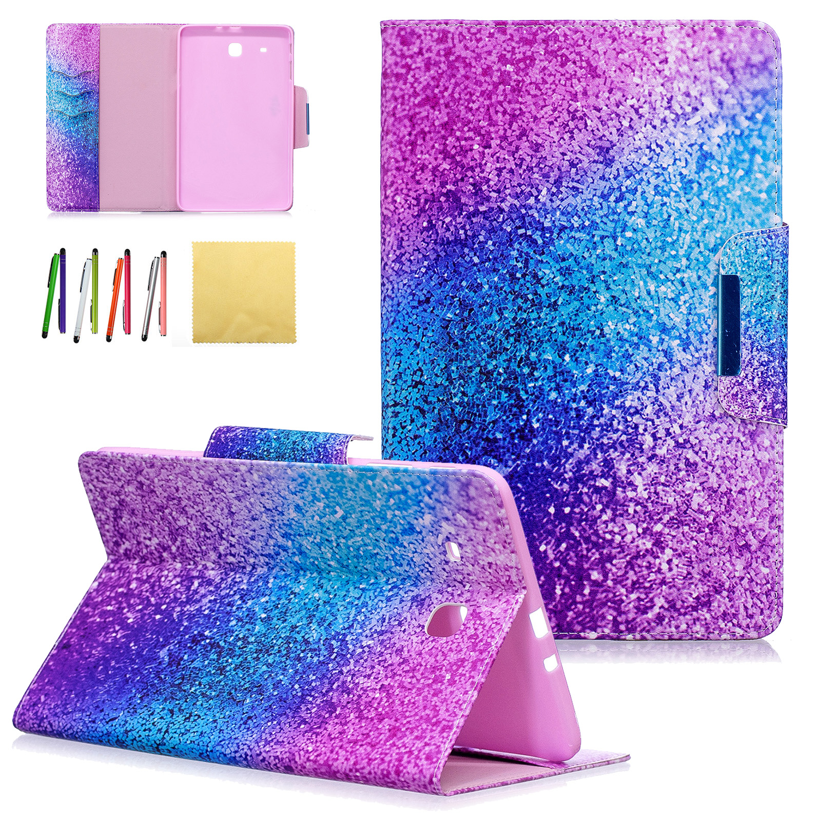 Galaxy Tab E 9.6 Case, Goodest PU Leather Stand Wallet Covers with Card Slots For Samsung Galaxy Tab E Wi-Fi/Tab E Nook 9.6-inch Tablet(SM-T560/T561/T565 & SM-T567V)(Not Fit T560NU), Colorful Sand