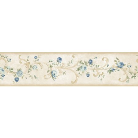 Brewster Home Fashions Meadowlark Scotney Tearose Acanthus 15' x 6'' Floral 3D Embossed Border Wallpaper