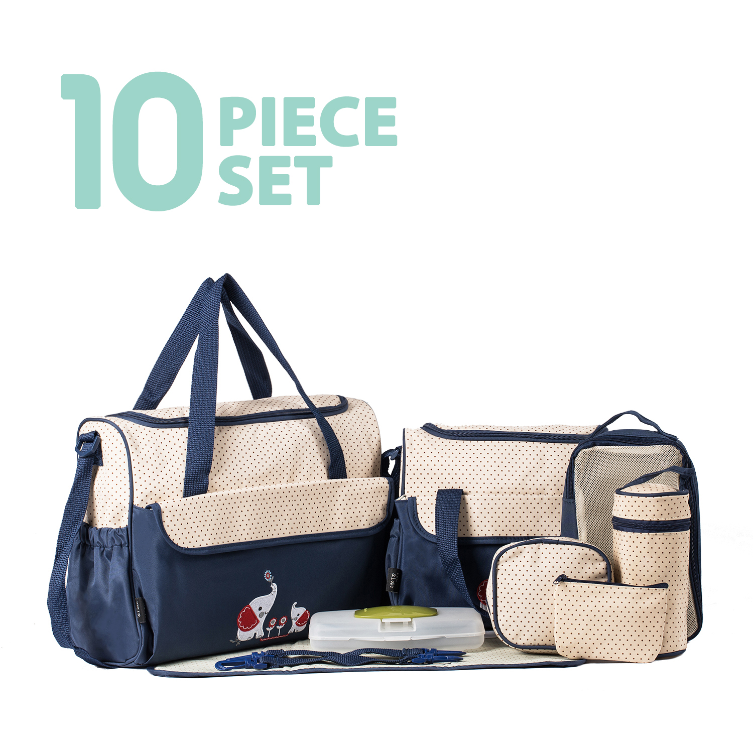 SoHo Collections, Large Capacity Tote Diaper Bag, 10 Piece Complete Set with Stroller Straps (Royal Navy)