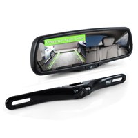 "PYLE PLCM4550 - Backup Car Camera Rear View Mirror Screen Monitor System with Parking & Reverse Safety Distance Scale Lines, OEM Fit, Waterproof & Night Vision, 170° Angle Adjustable, 4.3"" LCD Display"