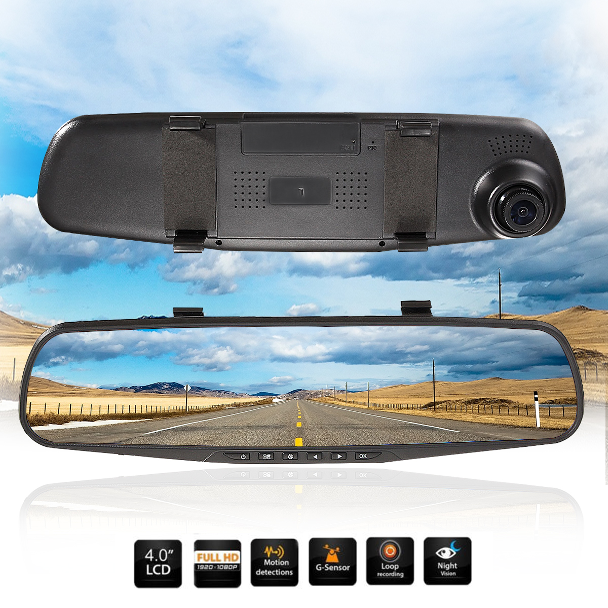 "ELEGIANT 4.3"" HD 1080P Screen Car DVR Camera Vehicle Rearview Mirror Monitor Dash Cam Video Recorder 170° Wide Angle Lens"