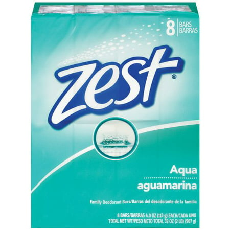 Zest Aqua Refreshing Deodorant Bar Soap, 4 Oz, Family Set of 8 Bars