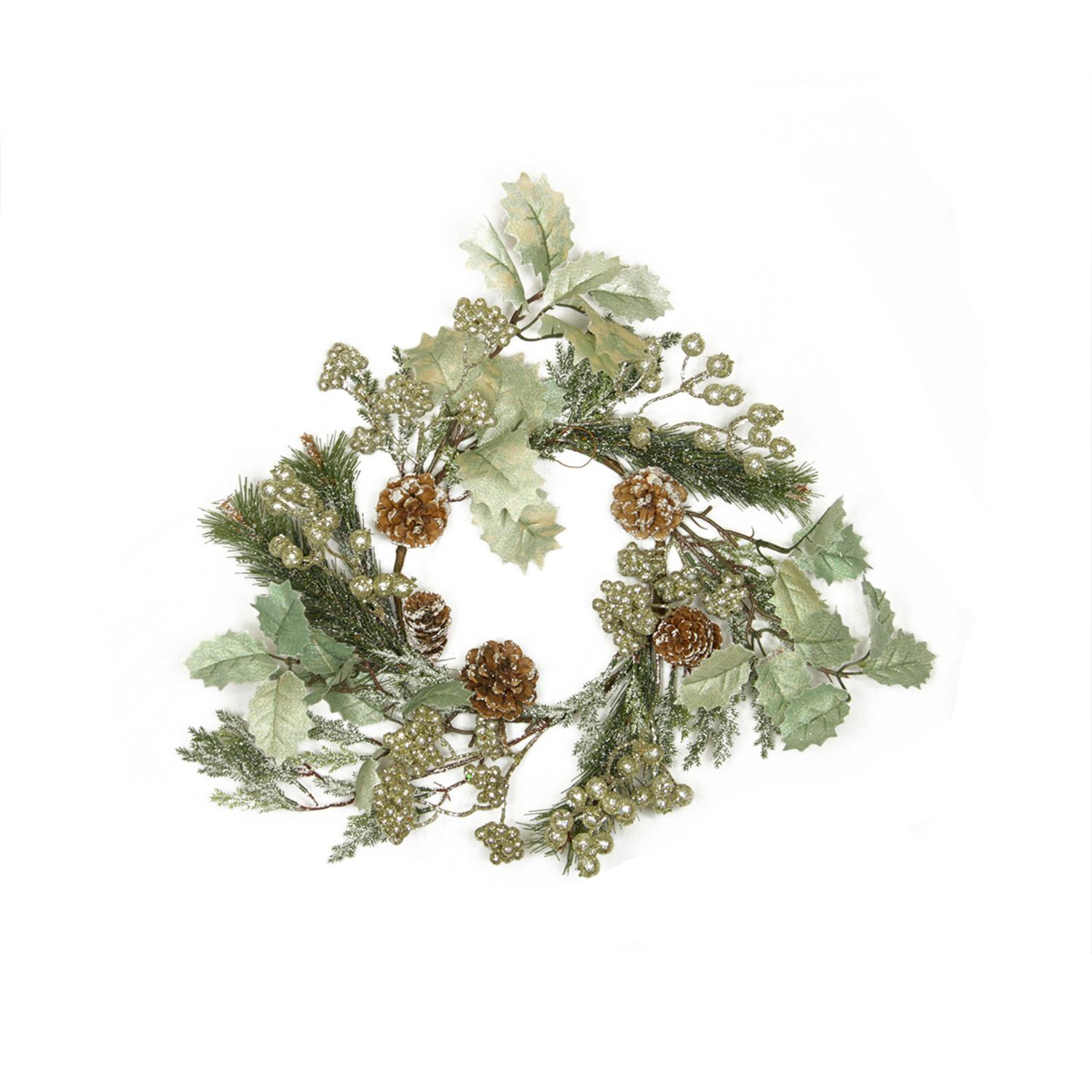 "Melrose 15"" Unlit Brown/Green Glittered Frosted Pine Cone with Holly Leaves Christmas Wreath"