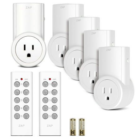 Etekcity Indoor Wireless Remote Control Power Outlet Light Switches 5-2 White White Control Switch