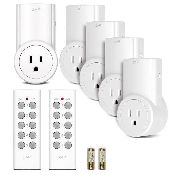 Etekcity Indoor Wireless Remote Control Power Outlet Light Switches 5-2 White