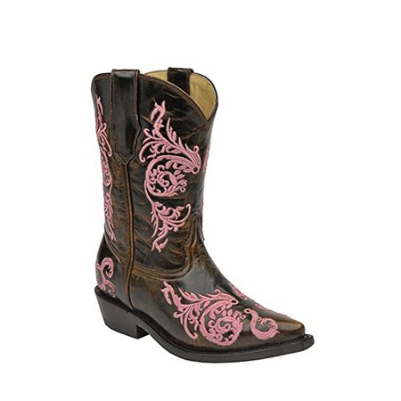 CORRAL Kids' Cognac Pink Dahlia Embroidered Snip Toe Cowboy Boots G1243 (10 K) (Womans Corral Cowboy Boots)