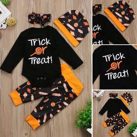 Halloween Newborn Baby Boys Girls Tops Romper+Candy Pants Hat Outfits Clothes Set 0-18M
