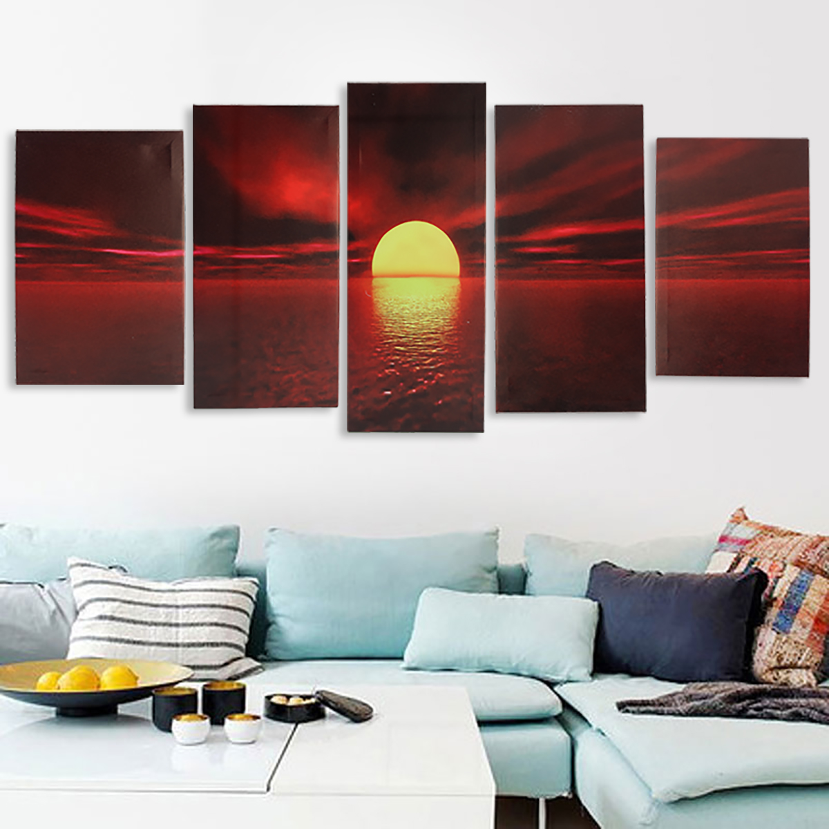 Asewin Sunrise Red Sun Modern 5 Piece Framed Wrapped Landscape Canvas Prints Artwork Ocean Sea Beach Pictures Paintings on Canvas Wall Art for Living Room Bedroom Home Decor