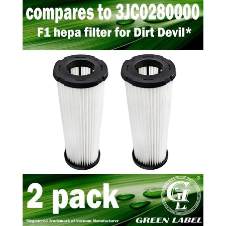 2 Pack for Dirt Devil F1 HEPA Vacuum Filter. Compares to 3JC0280000. Genuine Green Label Product](Devil Faces For Halloween)