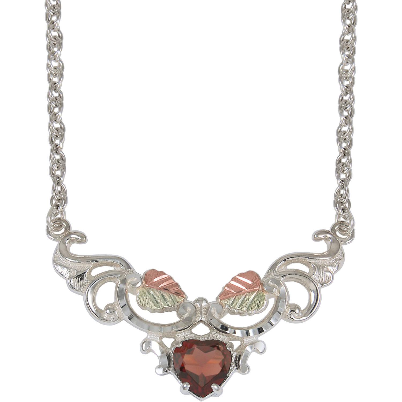 """Black Hills Gold Garnet Sterling Silver 12kt Gold Leaf Accented Heart Pendant, 18"""""""