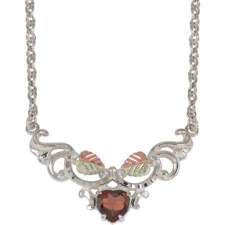 Black Hills Gold Garnet Sterling Silver 12kt Gold Leaf Accented Heart Pendant,