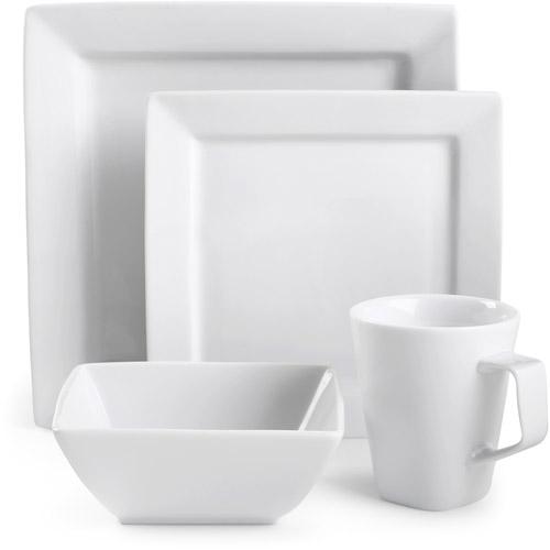 Canopy Square White Porcelain 16-Piece Dinnerware Set