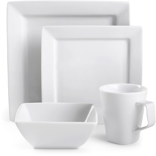Beau Canopy Square White Porcelain 16 Piece Dinnerware Set