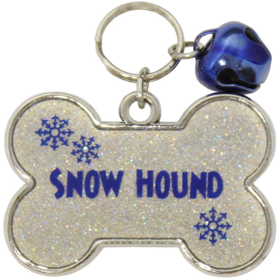 "Gloria Duchin ""Snow Hound"" AB Glitter Pet Collar Tag"
